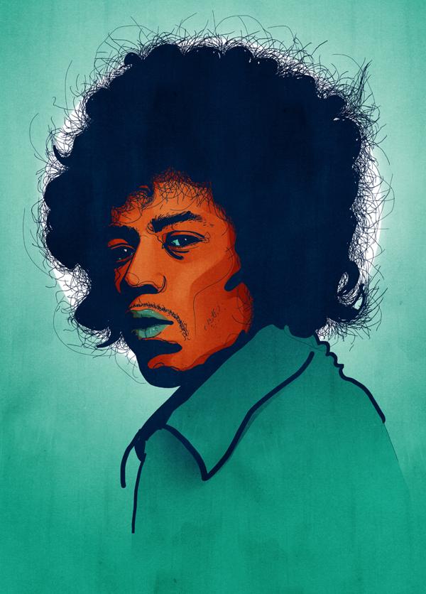Jimi Hendrix portrait   Tobias Hall