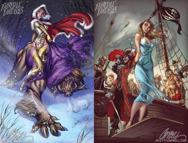 Beauty and the Beast | Wendy of Peter Pan by J. Scott Campbell