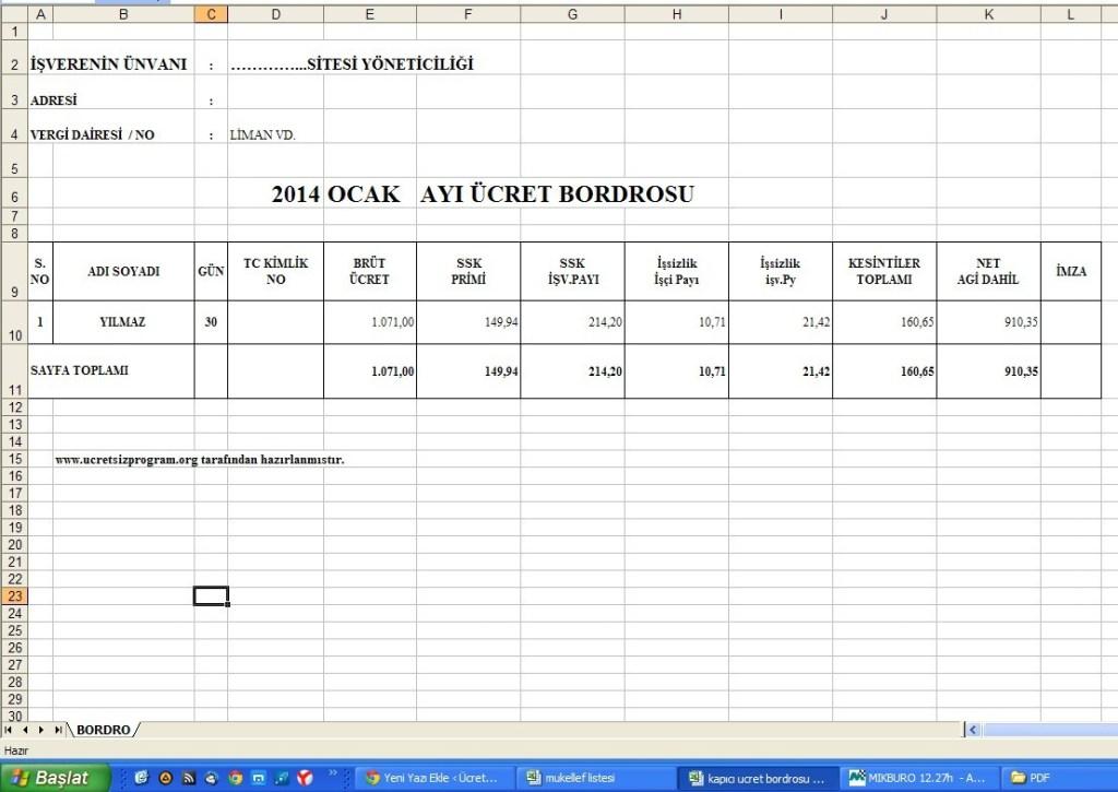 Kapıcı Ücret Bordrosu Excel Programı