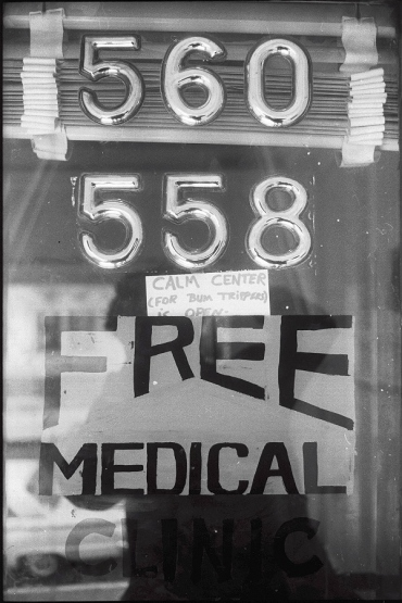 "Haight Ashbury Free Clinic's door in 1967, reading ""Free Medical Clinic"""