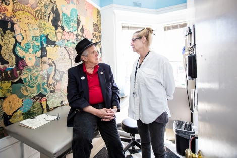 David Smith and Pam Olton talk inside the Haight Ashbury Free Clinic