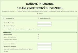 daň motorové vozidlá