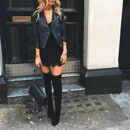 Znalezione obrazy dla zapytania black dress with ramoneska and boots