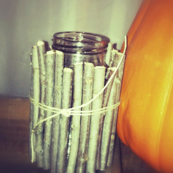 wood wrapped candle