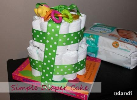 simple diaper cake on a board book
