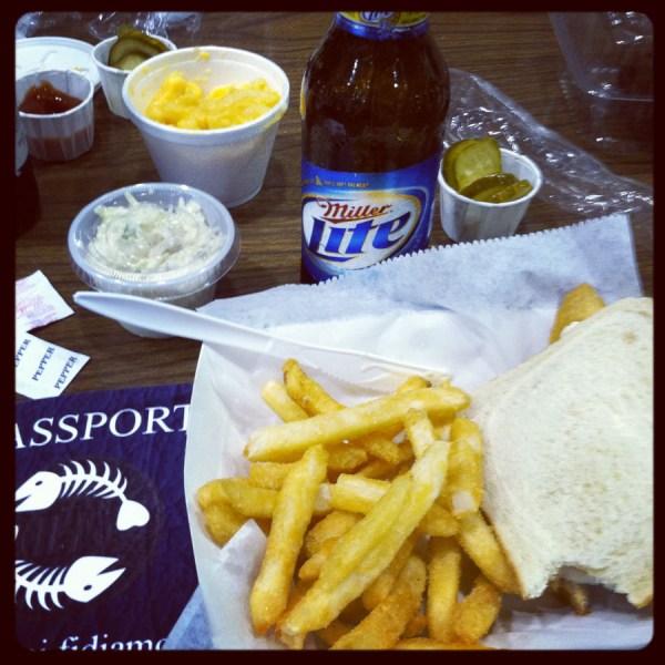 fish platter $2 beer and passports