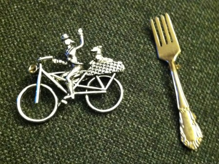 bike and fork lapel pins
