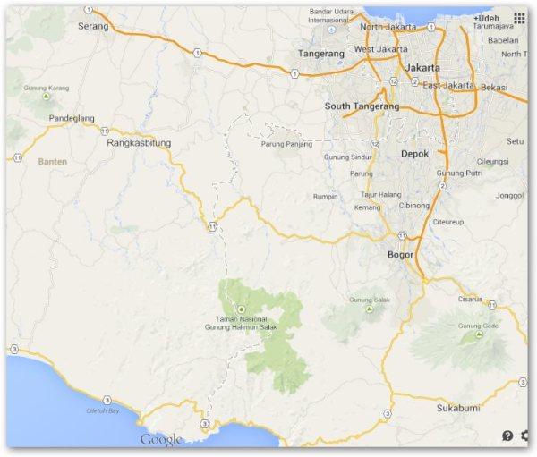 Peta Jakarta ke Sawarna
