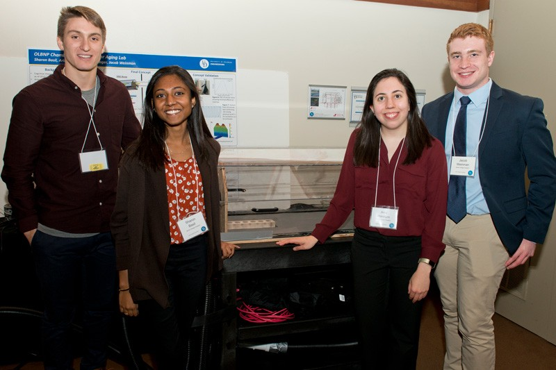 Engineering students Aaron Kager, Sharon Basil, Ariel Hannum and Jacob Weinman worked with the UD Neurovascular Aging Laboratory to develop a magnetic resonance-compatible oscillatory lower body negative pressure device.