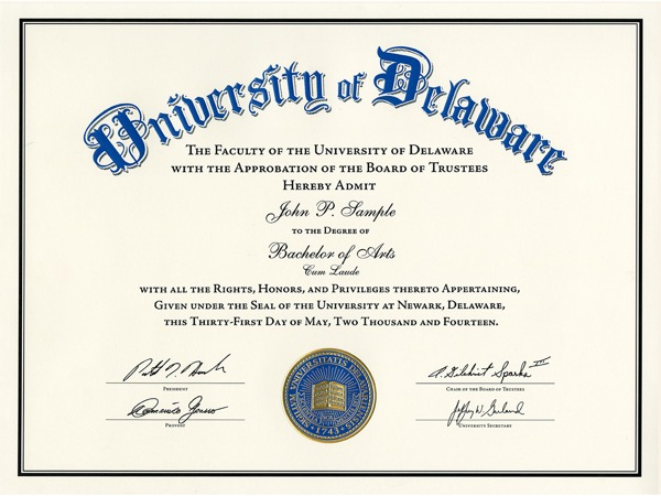 University Of Delaware Unveils New Diploma Design