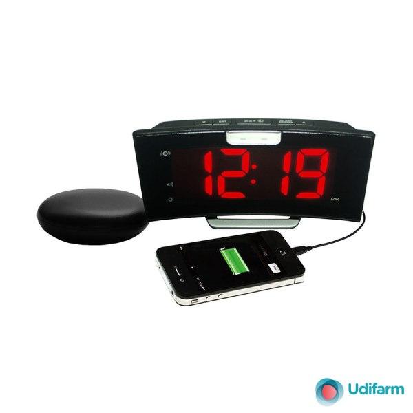 Sveglia digitale con dispositivo esterno a vibrazione modello WAKE AND SHAKE CURVE