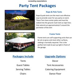 Party Rentals Tables And Chairs Baby Doll High Chair Canada Ultimate Events Small Tent Packages Catalog
