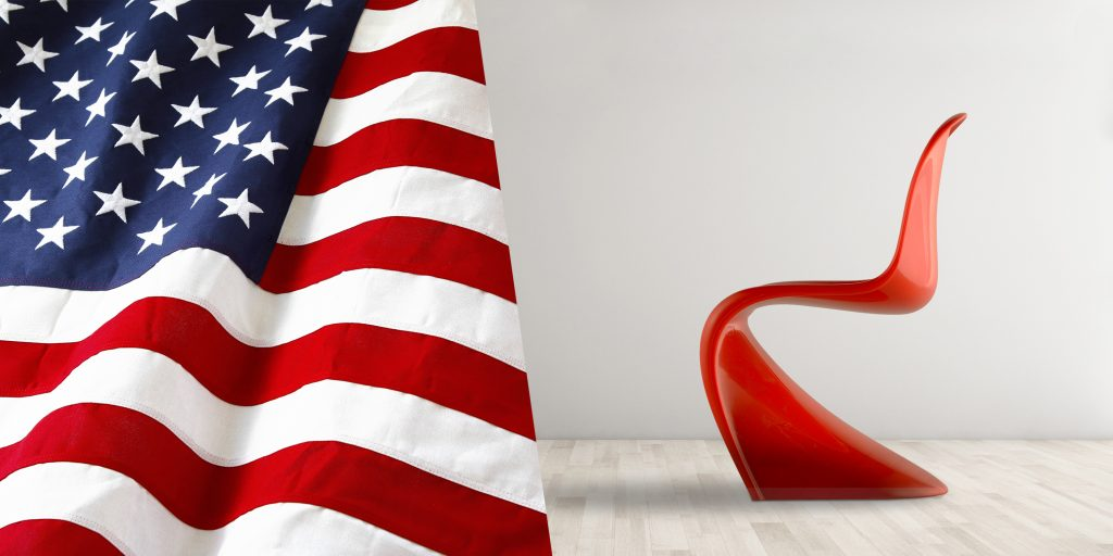 design model with american flag