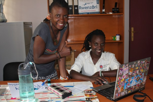 Diane Babirye, right, UCU student pursuing a bachelor's degree in journalism and media studies, produced the video. BrendahNdagire, UCU graduate and UCU Partners communications assistant, was an editor. (UCU Partners photo)