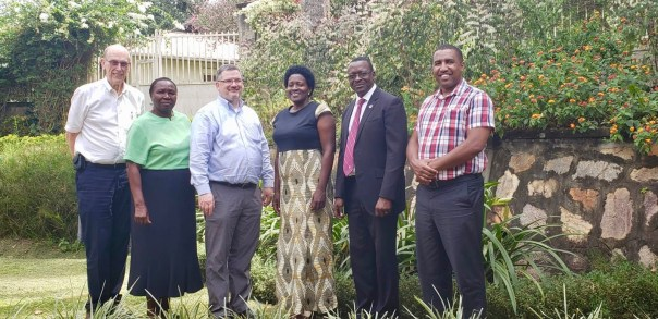 Pictured after one meeting are (left to right) Dr. Jim Smith of the Christian Medical and Dental Association (USA); UCU Head of Nursing Jemimah Mutabaazi; Doug Fountain; Dr. Miriam Mutabazi (acting SoM director, fourth from left); Deputy Vice Chancellor David Mugawe; and a representative from Johnson and Johnson Global Impact, Kenya. (UCUPartners Photo)