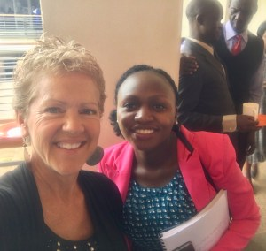 Linda Knicely, left, with one of her students from 2019 (UCU Partners photo)