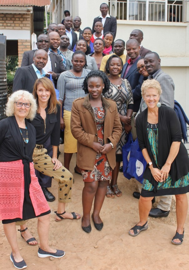 Sheila, center, is shown with some faculty at Bishop Barham University, Kabale, where she assisted in her role as an intern with the fifth annual dissertation writing and research clinic in 2019. (UCU Partners photo)