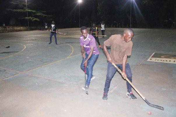 Ball Hockey team during training at the Uganda Christian University sports field