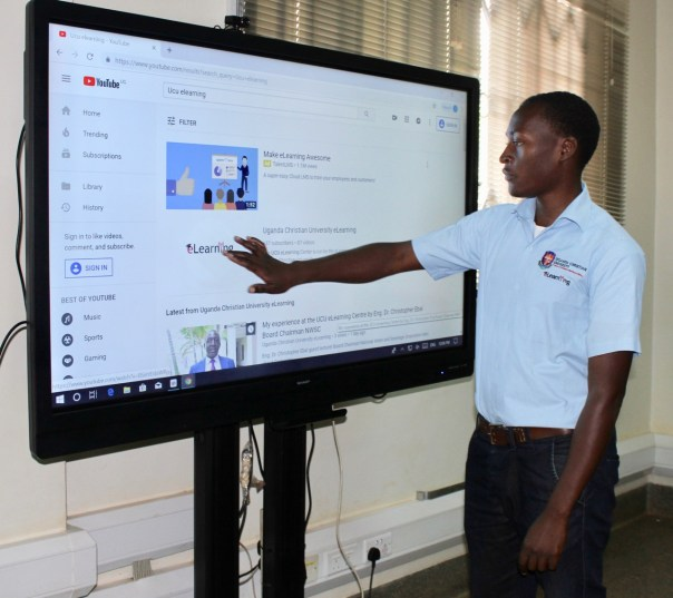 UCU's e-learning center on the Mukono campus includes touch-screen capabilities as one example of state-of-the-art technology.