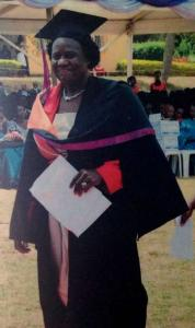 Margaret Ekel at graduation from UCU in March 2014. She received her Bachelor of Nursing Science degree before enrolling for a Masters in the same field.
