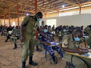 ASP Beyanga conducts a workshop in one of the Uganda police academies in the country early this year.