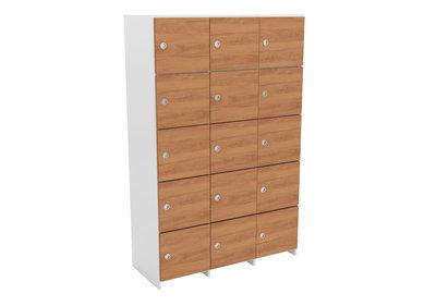 meuble a casiers eureka 3 x 5 cases unicolore coloris au choix portes pleines avec aimant