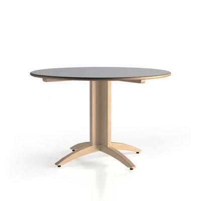 table lylou 2 o 120 cm pietement central hetre verni naturel plateau stratifie anti bruit