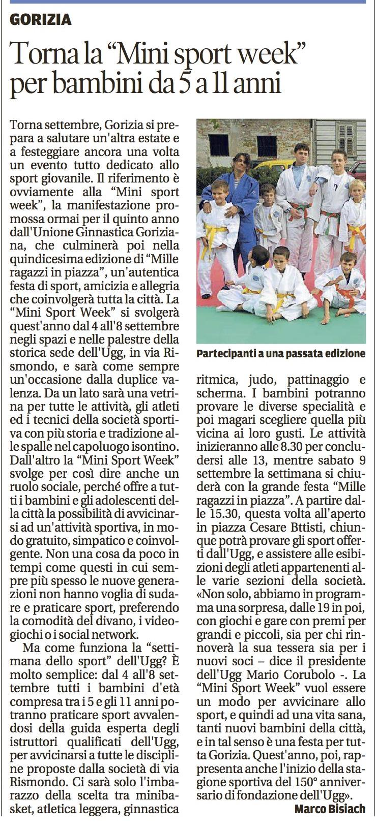 Mini Sport Week 2017, Il Piccolo 30 settembre