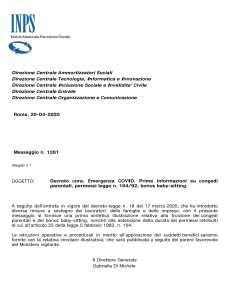 INPS: informazioni sul decreto CURA