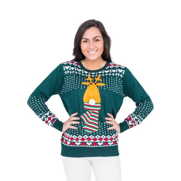 Women' Green Reindeer Christmas Sweater