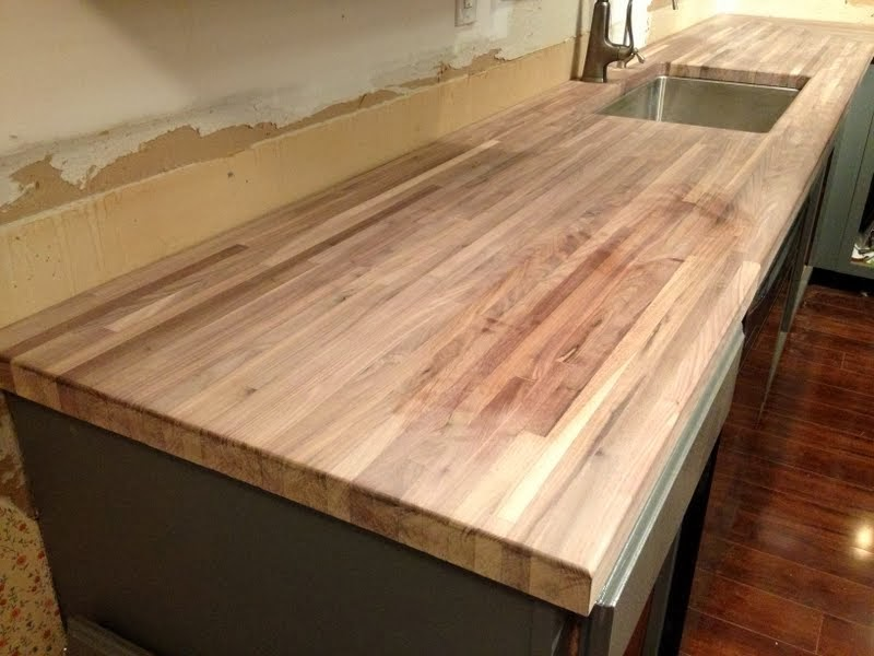 Sanding Butcher Block Table