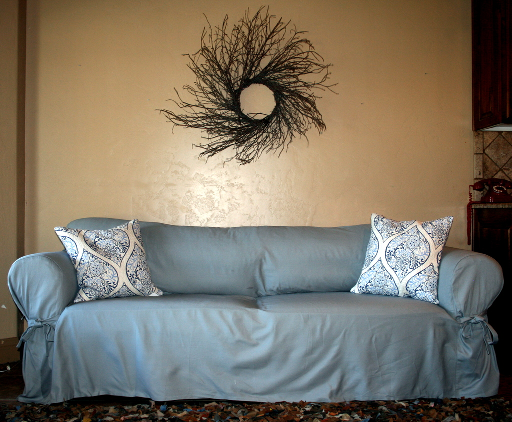 sure fit logan sofa slipcover blue denim couch cushion chair slipcovers  pads and cushions