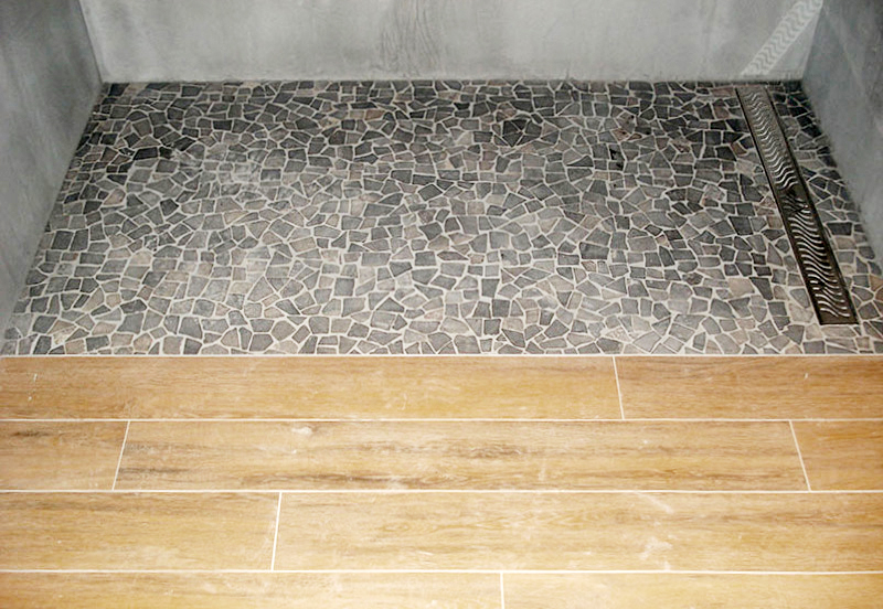 Interior and exterior laying of blue stones structured laminates pebbles shale
