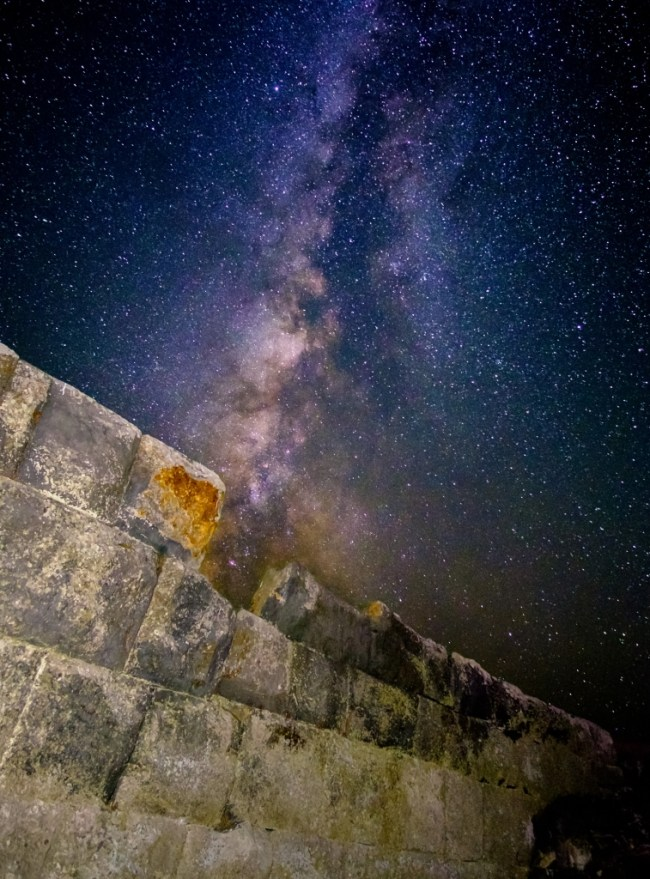 The Milky Way over the Nissyros Acropolis