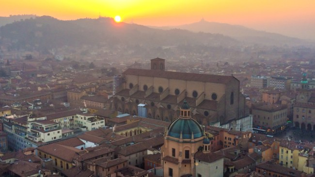 The view from the Asinelli Tower in Bologna at sunset