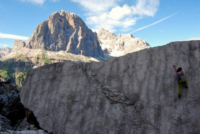 Katie climbing at Cinque Torri, Italian front line