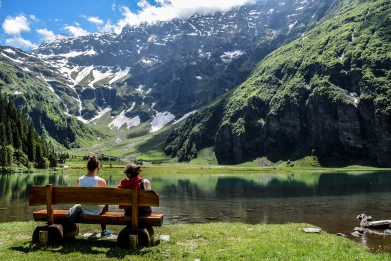 Sitting by the lake in the Hohe Tauern
