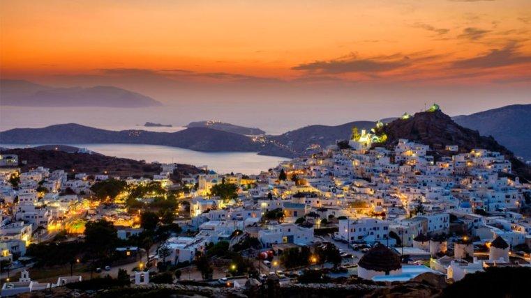 Ios Chora at sunset, Greece