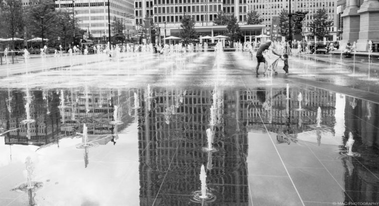 Dilworth Plaza in the summer