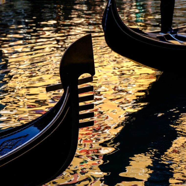 Detail of a gondola's bow, Venice