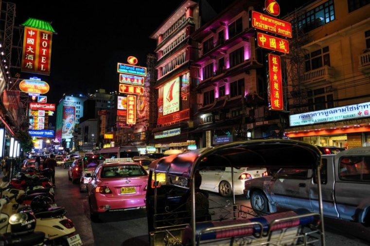 Neon lights in Yaowarat Road. Chinatown, Bangkok.