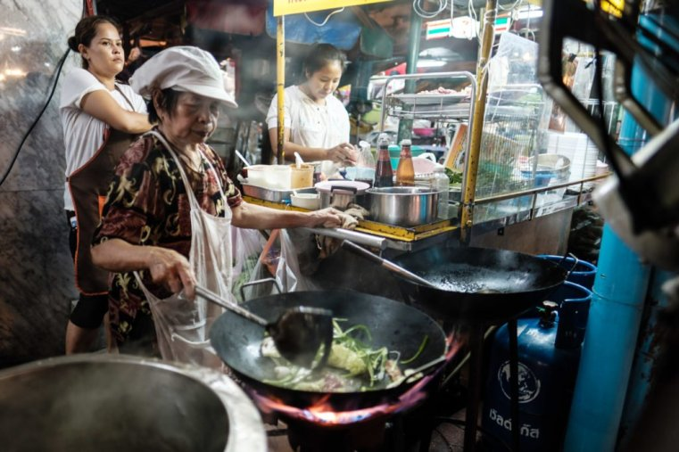 Street food stall. Yaowarat Road, Chinatown, Bangkok