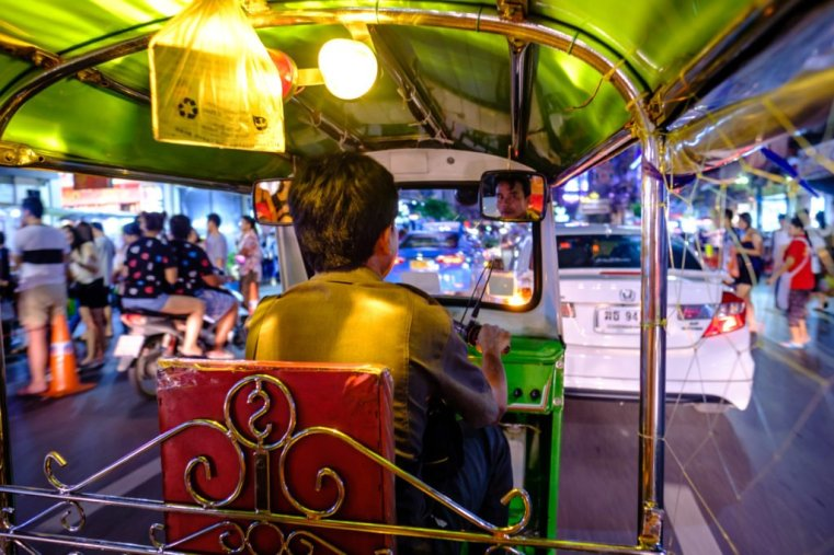Aboard a tuk-tuk. Yaowarat Road, Chinatown, Bangkok