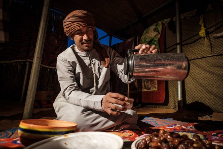 Bedouin hospitality: Coffee and dates