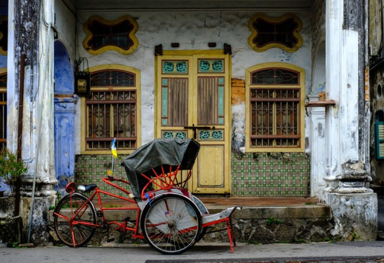 Old George Town house and trickshaw, Penang, Malaysia