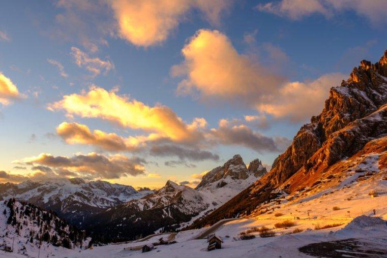 View from Pordoi Pass over Fassa Valley and the Sassolungo (Langkofel), Italian Dolomites