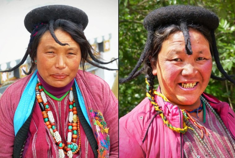 """Brokpa semi-nomadic pair, East Bhutan. The Brokpa came over the high Himalayas from Tibet. Note the distinctive """"shamo"""" head-gear from woven yak fur, with downpipes"""