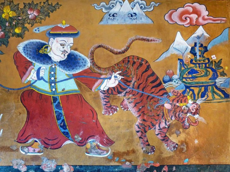 Entry mural Ogyen Choling manor-house museum, Tang Valley