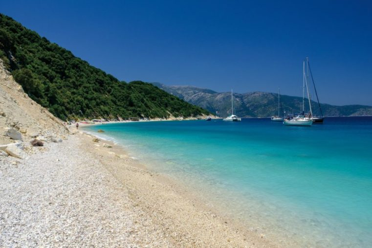 The white pebbles beach of Gidaki