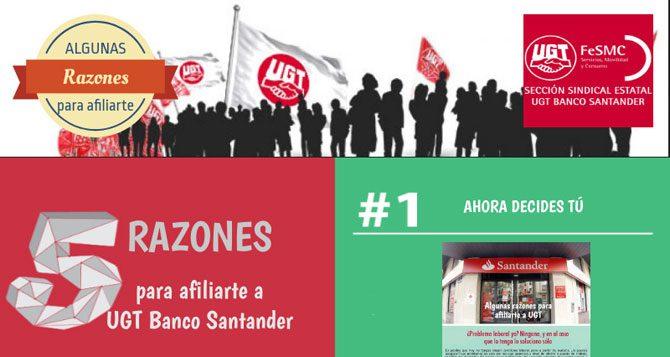 5 Razones para afiliarte a UGT Banco Santander